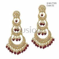 Fusion Arts Kundan Chandbali Wedding Earrings