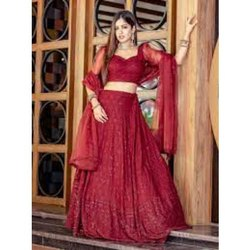 Festive Wear Red Girls Lehenga, Size: 24.0