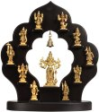 Nirmala Handicrafts Exporter Brass Vishu Dashavtars with Wooden Black Stand