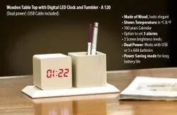 jankigroup White Wooden Table Top With Digital Led Clock, For Office