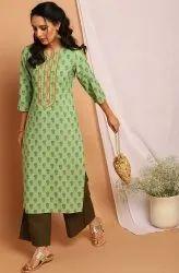 Calf Long Round Neck Janasya Women's Light Green Poly Crepe Kurta(JNE3717)
