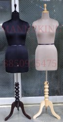 Headless Half Female Mannequin with Wooden Stand and Wooden Cap