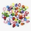 Multicolor Colorful Wooden Ladybug Self-adhesive Stickers - 100 Pcs/ Pack, Size: Tiny, Packaging Type: Plastic