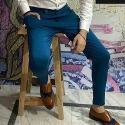 Multi Multicolor Branded Men's 4way Lycra Trouser