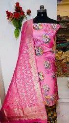 45 mm Pink Banarasi Silk Unstitched Suits
