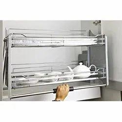 Slimline Modular Kitchen Wire Pull Down Unit 900 Mm , Silver