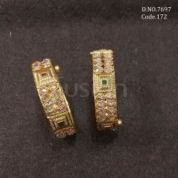 Golden Brass Fusion Arts Antique AD Bangles, Occasion: Party