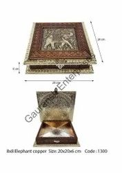 Designer Elephant copper print Dry Fruit Box