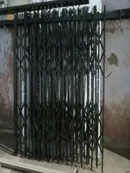 Black Mild Steel MS Collapsible Sliding Gate, For Commercial, Double Door