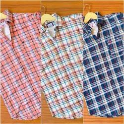 Checked Simple Collar Mens Cotton Shirts