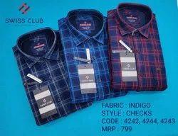 Swiss Club Checked Indigo Denim Casual Shirt
