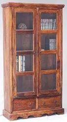 Wooden Book Shelf With Glass Door