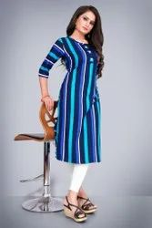 Crepe Multicolor Casual Wear, Size: S To Xxl