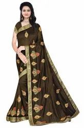 Janasya Women's Multicolor Vichitra Silk Embroidered Saree With Blouse Piece(KHUSHBOO-Pack of 5)