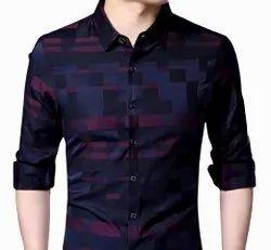 Polycotton Black Men's Printed Casual Shirt