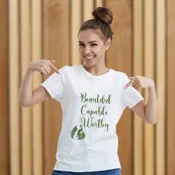 Round Neck Promotional T Shirt Printing Service, Minimum 10