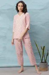 Janasya Women's Light Pink Cotton Night Suit Set(NW001)