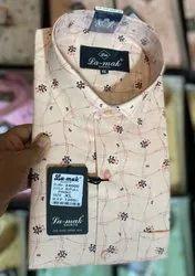 Printed Collar Neck Mens Cotton Shirts, Machine Wash
