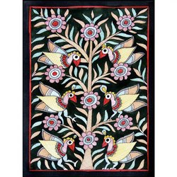 Black Paper Birds on Tree 2 - Madhu Bani Painting, Size: 6x8 Inch