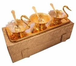 Gold & Silver Plated Swan Shap Bowl Set With Tray & Spoon  For Wedding
