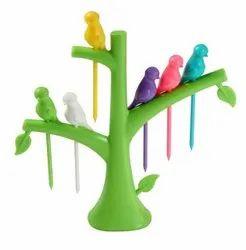 Plastic Green Fruit Fork