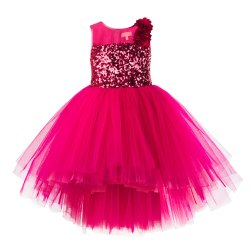Net Frocks & Dresses Toy Ballon Kids Girls High Low Pink Dress, Size: 1 to 12 Years
