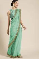 Janasya Women's Sea Green Net Solid Saree With Blouse Piece(SAR023)