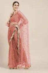 Janasya Women's Pink Net Embellished Saree With Blouse Piece(SAR035)