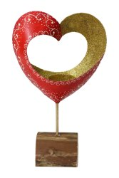 Polished Golden and Red Wooden Painted Decorative Heart Frame, For Home