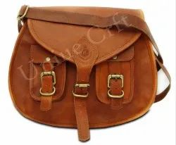 Plain Leather Light Brown Side Bag