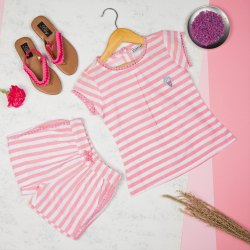 Kids Striped Cotton Top and Shorts Set, Size: Small