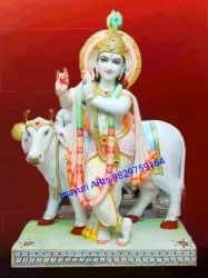 White Marble Lord Krishna Statue With Cow