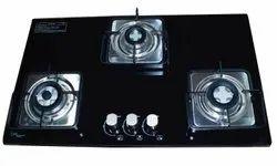 Glass 3 Burner Gas Hob, For Home, Size: 2.5 Feet
