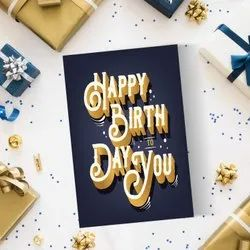 Black And Golden Square Greeting Cards For Happy Birthday To Friend, Brother