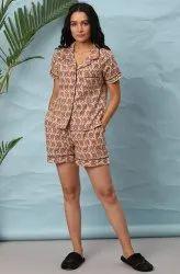 Janasya Women's Peach Cotton Night Suit Set(NW020)