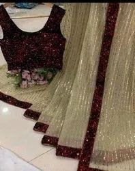 Granthi Fashion Party Wear Ladies Silk Designer Saree, With Blouse Piece, 5.5 M (Separate Blouse Piece)