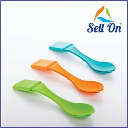 Om Enterprise Red Plastic Lunch Box Spoon, Size: 4 Inch