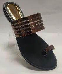 Fancy Black Stylish PU Sole Slipper