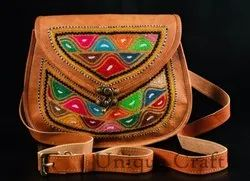 Tan Leather Ladies Embroidery Bag (9x11)