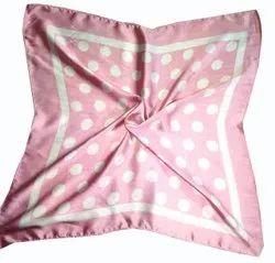 100% Satin Polkadot Printed Pink Bandana
