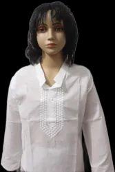 White Lucknowi PC Fabric Kurta With Cotton Pajama