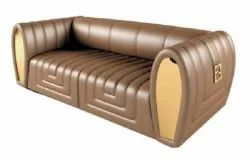 Wooden (Frame) Modern Leather Seat Two Seater Sofa, For Home, Living Room