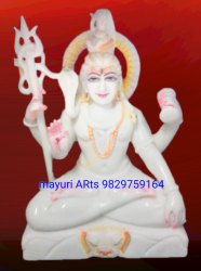 2 Feet Sitting Marble Lord Shiva Statue With Trishul