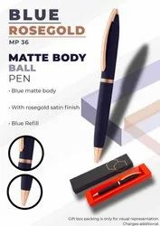 Matte Body Blue Rosegold Ball Pen