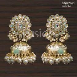 Fusion Arts Indo Western Kundan Jhumka Earrings