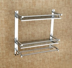 silver Wall Mount Bathroom Shelf-Rack/Towel Hanger/Bathroom Accessories 202, For Home, Size: Medium