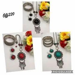 oxidised long necklace set