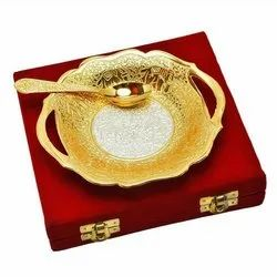 Metal Gold & Silver Plated Bowl & Spoon Set For Corporate Gift