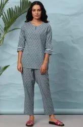 Janasya Women's Blue Cotton Night Suit Set(NW022)
