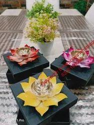 Flower Shape Metal Diwali Diya Set Of 3 Pcs